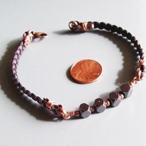 "OVER SIZED 9"" ~ Braided Leather, Copper + Hematite"